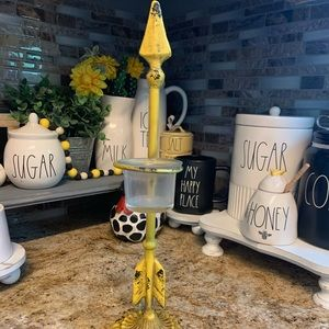 Yellow Distressed Arrow Candle Holder